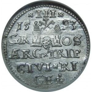 Zygmunt III Waza, Trojak 1593, Ryga, NGC MS64