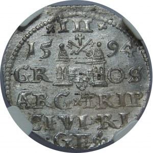 Zygmunt III Waza, Trojak 1594, Ryga, NGC MS62