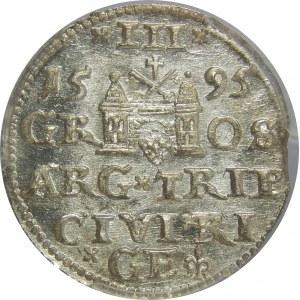 Zygmunt III Waza, Trojak 1595, Ryga, PCGS MS64