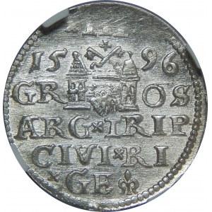 Zygmunt III Waza, Trojak 1596, Ryga, NGC MS63