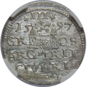 Zygmunt III Waza, Trojak 1597, Ryga, NGC MS64