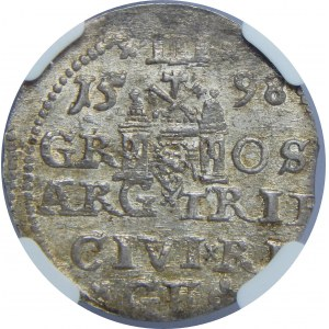 Zygmunt III Waza, Trojak 1598, Ryga, NGC MS63