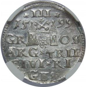 Zygmunt III Waza, Trojak 1599, Ryga, NGC MS61