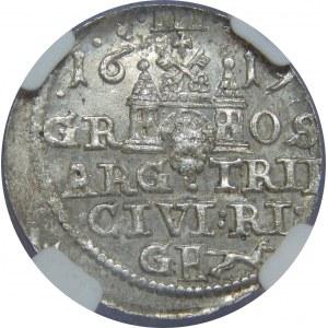 Zygmunt III Waza, Trojak 1619, Ryga, NGC MS63