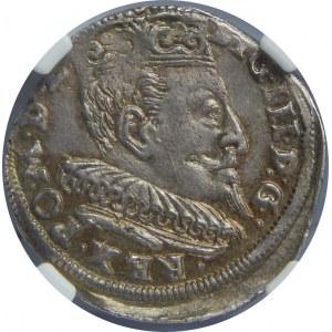 Zygmunt III Waza, Trojak 1595, Wilno, NGC MS61
