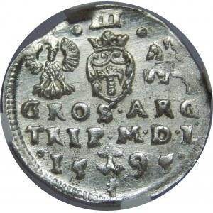 Zygmunt III Waza, Trojak 1595, Wilno, NGC MS63