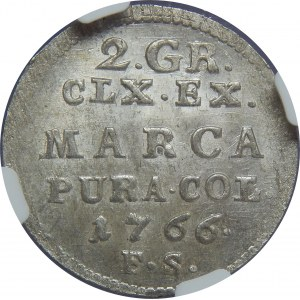SAP, 2 grosze 1766 FS, Warszawa, NGC MS63