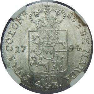 SAP, 1 złoty 1794 MV, Warszawa, NGC MS62