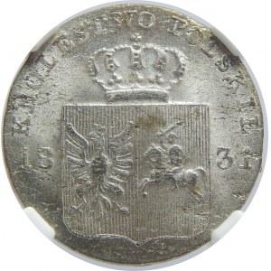 Powstanie Listopadowe, 10 groszy 1831-łapy orła zgięte, NGC MS63