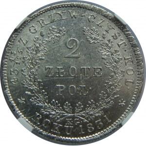 Powstanie Listopadowe, 2 złote 1831-BEZ POCHWY, NGC MS61