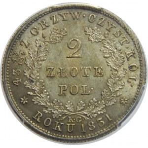 Powstanie Listopadowe, 2 złote 1831-BEZ POCHWY, PCGS MS64