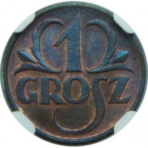 1 grosz 1925 NGC MS66 RB