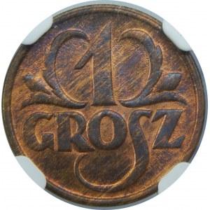1 grosz 1927 NGC MS66 RB