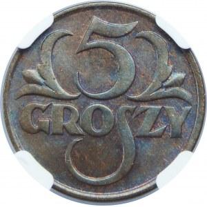5 Groszy 1928 NGC MS65 BN