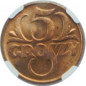 5 Groszy 1935 NGC MS64 RD