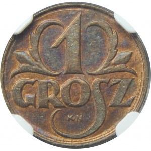 PRÓBA 1 grosz KN 1923 NGC MS64 BN