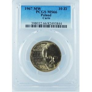 10 Złotych 1967 Maria Skłodowska Curie PCGS MS66