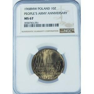 10 złotych 1968 XXX Lat Ludowego Wojska Polskiego NGC MS67