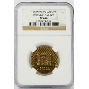 2 złote 1998 Zamek w Kórniku NGC MS66