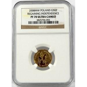 50 złotych 2008 Odzyskanie Niepodległości NGC PF70