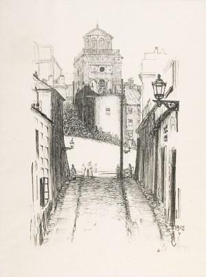 Feliks JABŁCZYŃSKI (1865-1928), Widok na dzwonnicę kościoła św. Anny w Warszawie, 1915