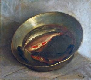 Eugeniusz ARCT (1899-1974), Martwa natura z rybami w mosiężnej misie, 1929