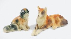 Fabryka Fajansów Aleksandra Rogala-Lewickiego w Pacykowie k/Stanisławowa, Dwie figurki psów (leżący collie i siedzący pekińczyk)