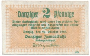 Gdańsk 2 Pfennige 1923 Październik