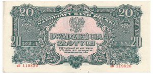 20 złotych 1944 bB - rzadka odmiana