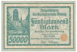 Gdańsk 50 000 marek 1923 num. 5 cyfrowa