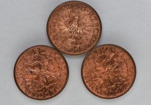 Zestaw 3x1 grosz 1938 czerwone