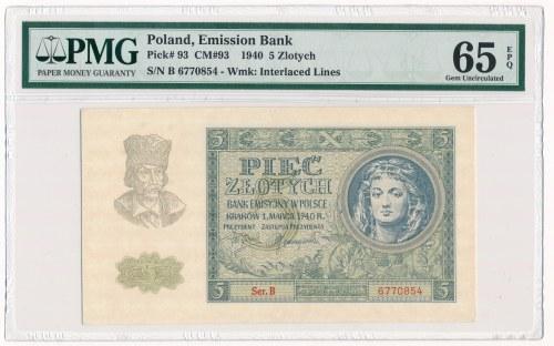 5 złotych 1940 -B- PMG 65 EPQ