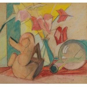 Roman BILIŃSKI (1897-1981), Martwa natura z anturium i figurką [Anturium con vaso], 1954