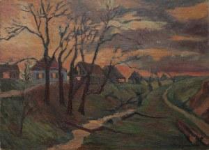 Jerzy Gnatowski (1928-2012), Wioska o zachodzie słońca (1967)