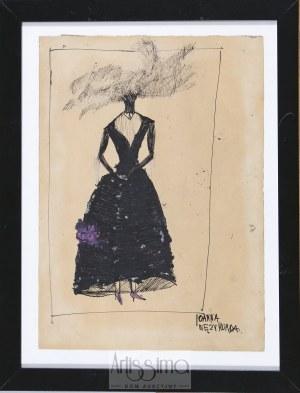 """Barbara Jonscher (1926–1985), Joanna Wężymorda – projekt kostiumu do sztuki St. I. Witkiewicza """"W małym dworku"""""""