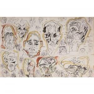 Zdzisław Lachur (1920 – 2007), Twarze – rysunek ze szkicownika artysty