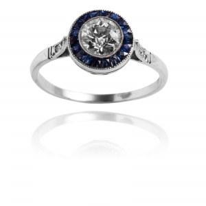 Platynowy pierścionek w stylu Art Deco z diamentami i szafirami