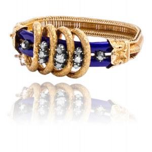 Dawna bransoletka Art Deco z diamentami oraz z emalią wykonana ze złota