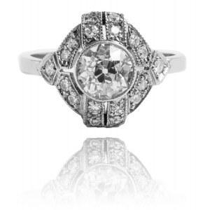 Pierścionek w stylu Art Deco z diamentami ~ 1.21ct