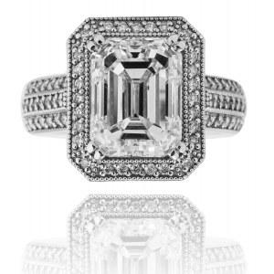 B. Designerski pierścionek z lupowo czystym diamentem ~5.00ct