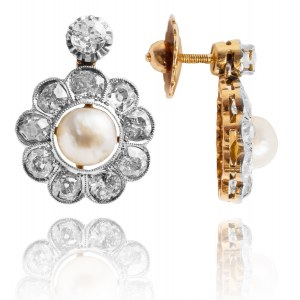 Kolczyki z perłami oraz diamentami wykonane ze złota oraz platyny