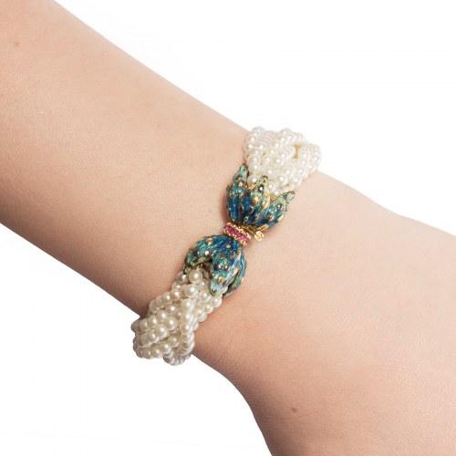 Bransoletka z perłami, rubinami oraz emalią wykonana ze złota
