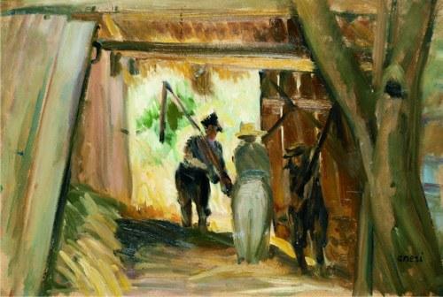 ANERI Irena Weissowa (1888-1981), Młocka w stodole I, [1962]