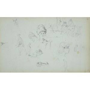 Stanisław CHLEBOWSKI (1835-1884), Szkice postaci w strojach orientalnych ze sceną rodzajową w tle