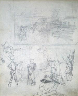 Stanisław KAMOCKI (1875-1944), Szkice żołnierzy rosyjskich, kompozycji batalistycznej, [ok. 1894]