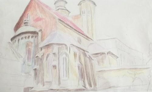 Stanisław KAMOCKI (1875-1944), Kościół Św. Andrzeja w Krakowie – widok od południowego wschodu, [ok. 1912]