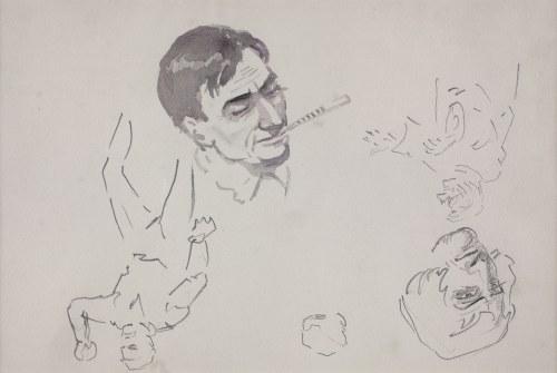 Karol KOSSAK (1896-1975), Szkice postaci mężczyzny, głowa mężczyzny palącego papierosa;