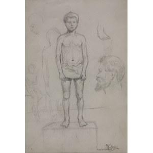 Karol KOSSAK (1896-1975), Szkice - postać chłopca, głowa mężczyzny, [1922]