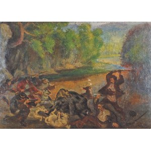 Fryderyk PAUTSCH (1877 - 1950), Polowanie na dzika, [1907]