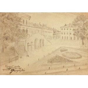 ZAMOŚĆ. Widok części rynku z ratuszem, rys. ołówkiem autorstwa M ...